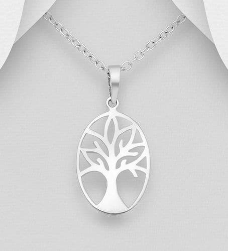 925 Sterling Silver Oval Open Work Tree Of Life Pendant & Chain